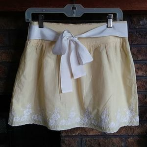 Charlotte russe embroidered yellow skirt with tie